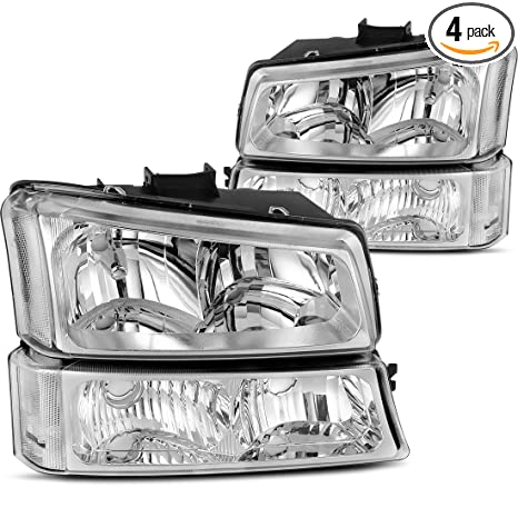 Headlight Assembly kit for 2003 2004 2005 2006 Chevy Avalanche Silverado  1500 2500 3500/2007 Chevrolet Silverado Classic Pickup Headlamp,Chrome