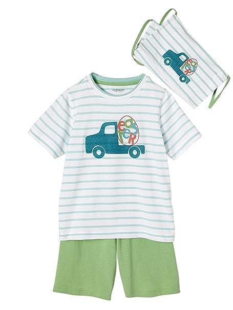 VERTBAUDET Conjunto niño pijama con pantalón pesquero + bolsa VERDE CLARO A RAYAS 2A: Amazon.es: Ropa y accesorios