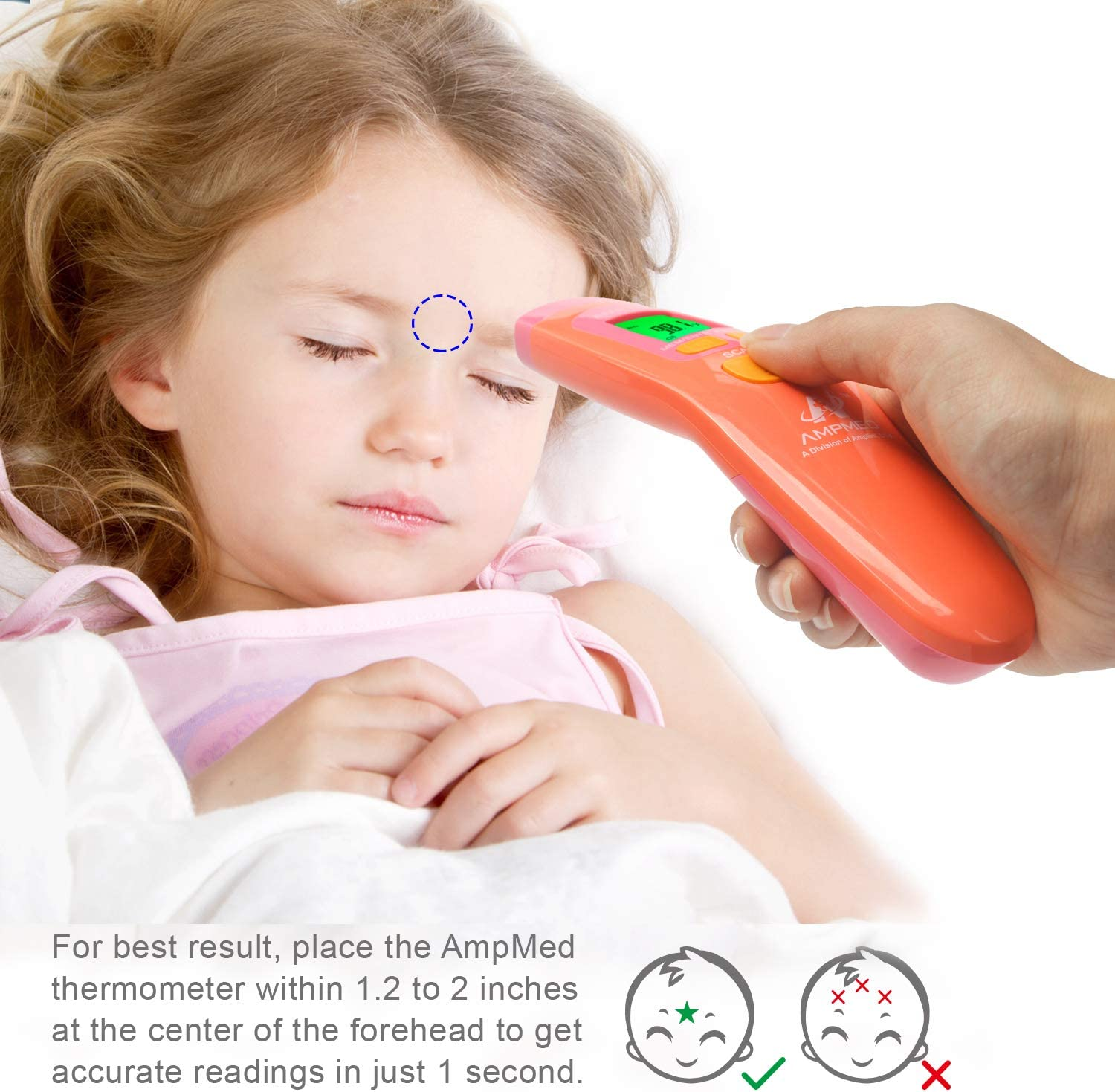 Temporal Artery Thermometer Baby Health Safety Forehead Head Illness Flu Sick