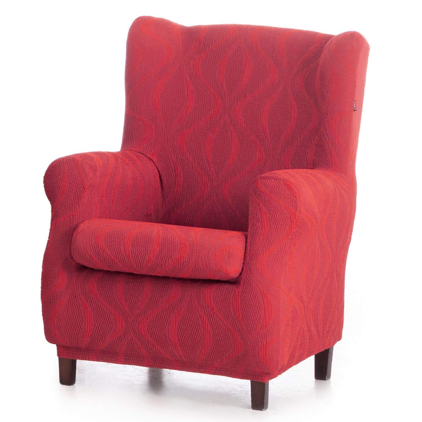 Innovaciones Roser Funda de Sillón Orejero Elástica Modelo Janeiro, Color Rojo, Medida 70-90cm de Ancho