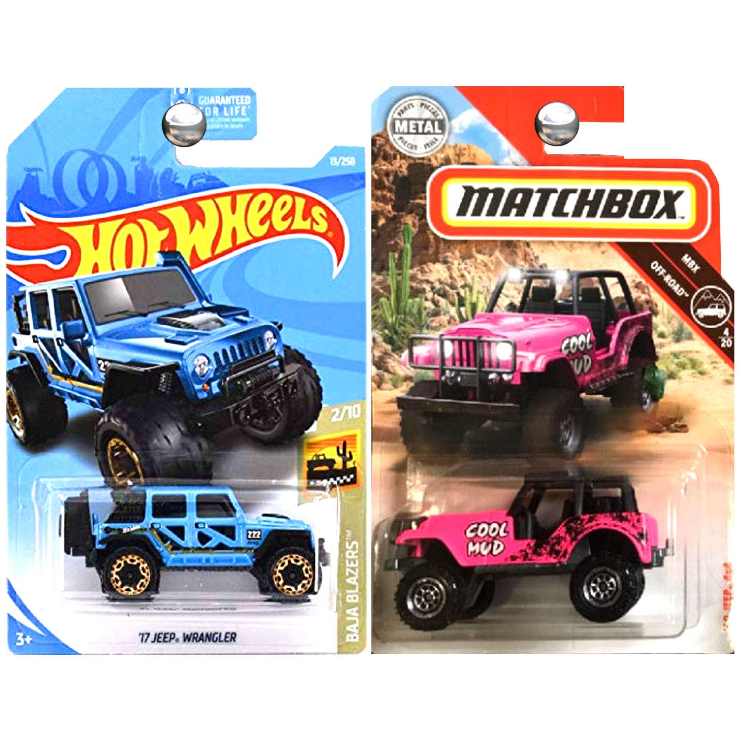Jeep Wrangler Off Road >> Hot Wheels Matchbox 1960 Jeep 4x4 Pink And 2017 Jeep Wrangler Blue Set Of 2