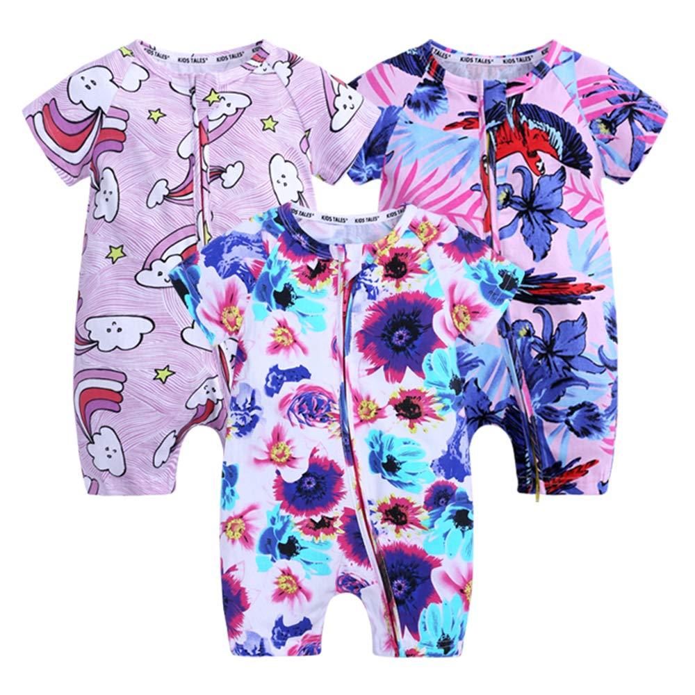 Kids Tales 3 Pack Baby Boys Girls Short Cotton Pajamas Cute Graphic Zip Romper