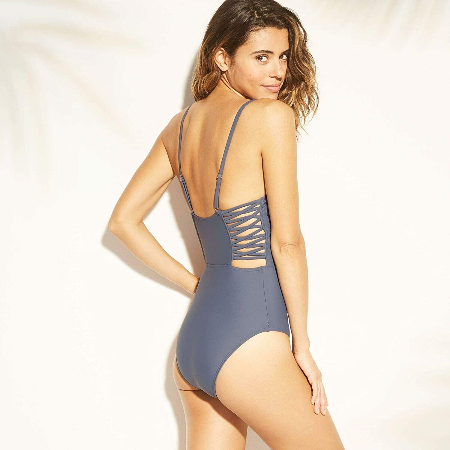 Xhilaration Womens Strappy Side Eyelet Embroidery One Piece Swimsuit