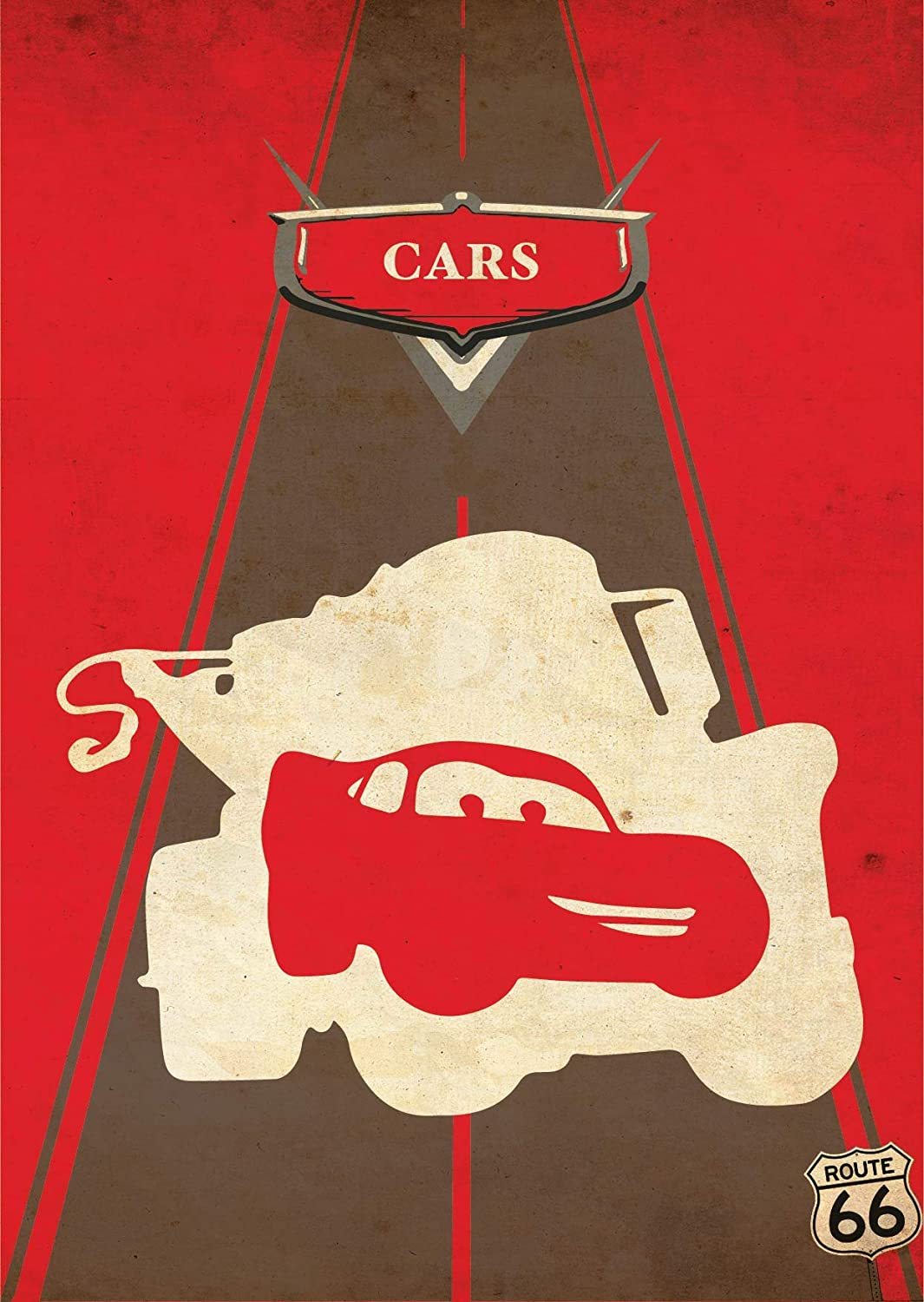 Amazon Com Cars Minimalist Poster Disney And Pixar Animation Alternative Print Cars Movie Lightning Mcqueen Home Decor Illustration Cinema Artwork Wall Art Hanging Cool Gift Handmade