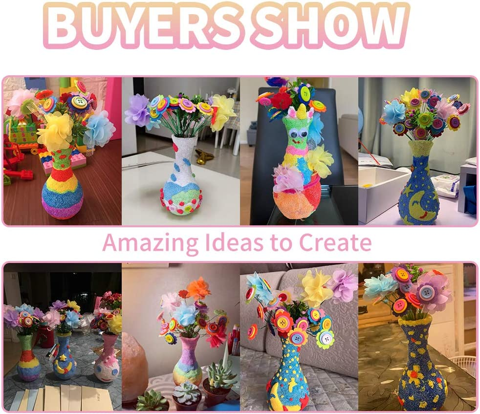 Fun Activity Gift for Boys /& Girls Age 4 5 6 7 8 9 10 12 Year Old Children Birthday Gift Flower Craft Kit for Kids Colorful Button /& Felt Flowers Vase Art Toy /& Craft Project DIY Your Own Flower