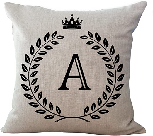 how to use decorative pillows amazon com luxsea letter alphabet printed cotton linen pillowcase how to use throw pillows on a bed printed cotton linen pillowcase