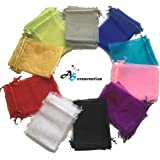 """A&S Creavention Organza Mixed Colors Jewelry Pouch Bags Display bags 10 Colors 100pcs (5x7""""inches)"""