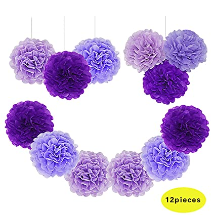 Amazon paper pom poms tissue paper flowers purple mysterious paper pom poms tissue paper flowers purple mysterious flower balls wedding birthday party baby mightylinksfo