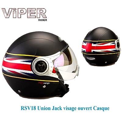 Casque moto jet VIPER RSV18 Matt Union JACK visage ouvert Casque tour jet de moto Nouveau modèle 2017