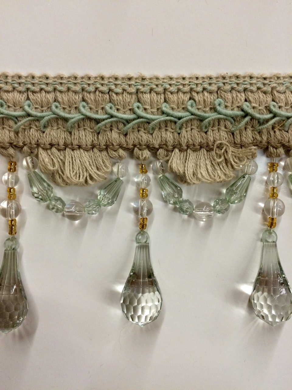 Sold by The Yard 4 Crystal Beaded Tassel Fringe Trim TF-46//7-33 Brown /& Cranberry