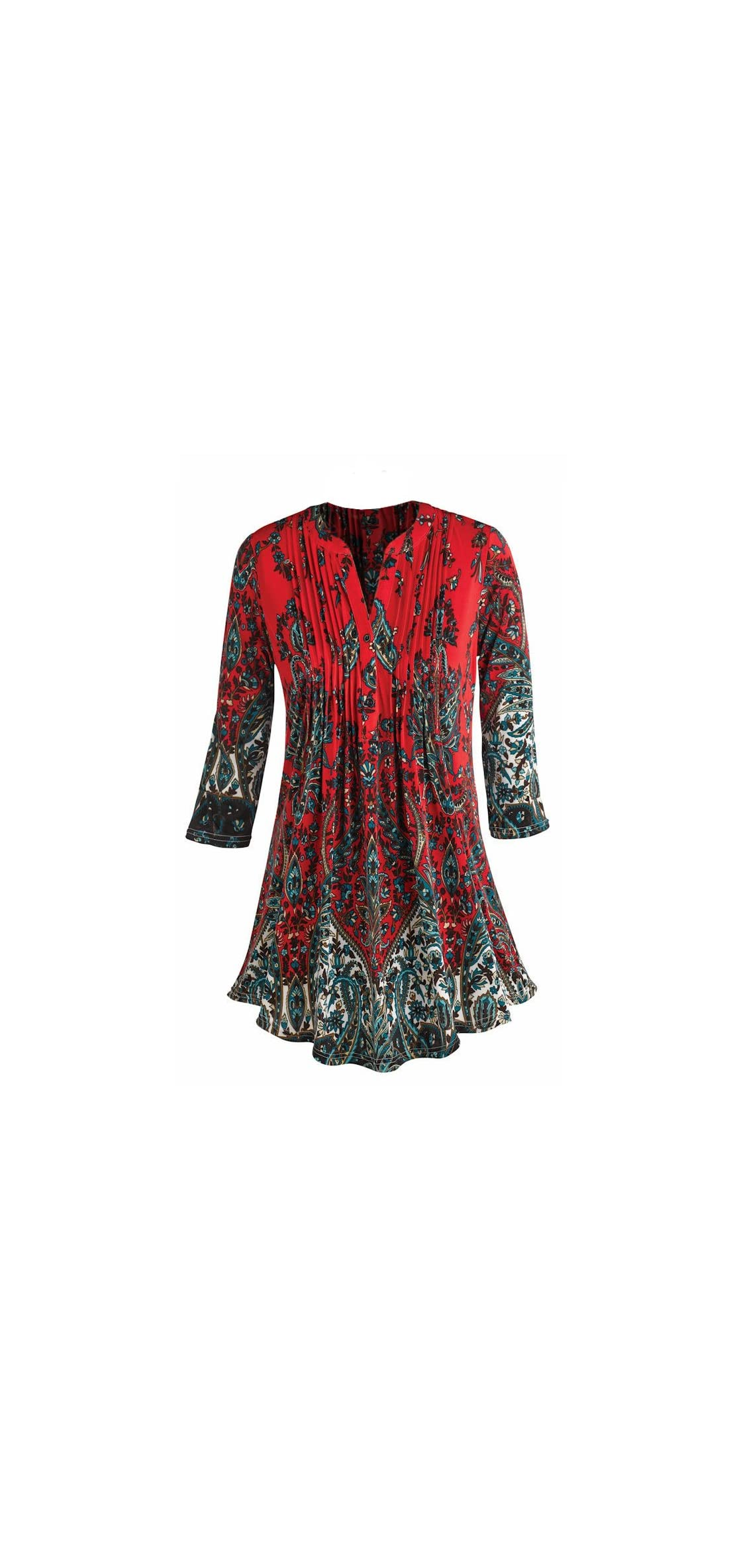 Women's Pleated Paisley Tunic Top -/ Sleeve