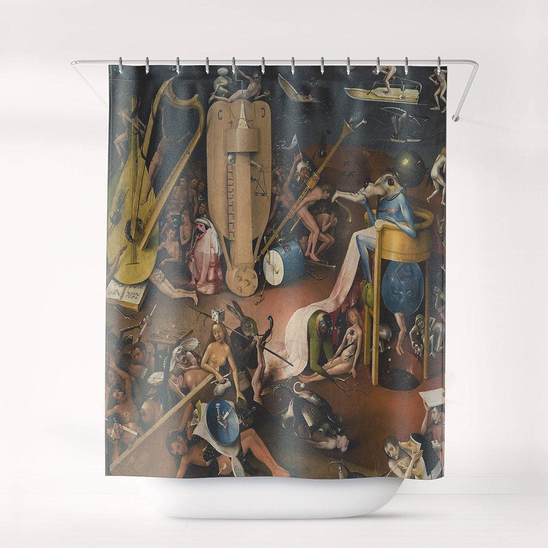 "Promini Bosch The Garden of Earthly Delights Shower Curtain Art Bath Decor Bathroom Curtain, Sc-Hbo-01 with 11 Hooks,66"" x 72"""