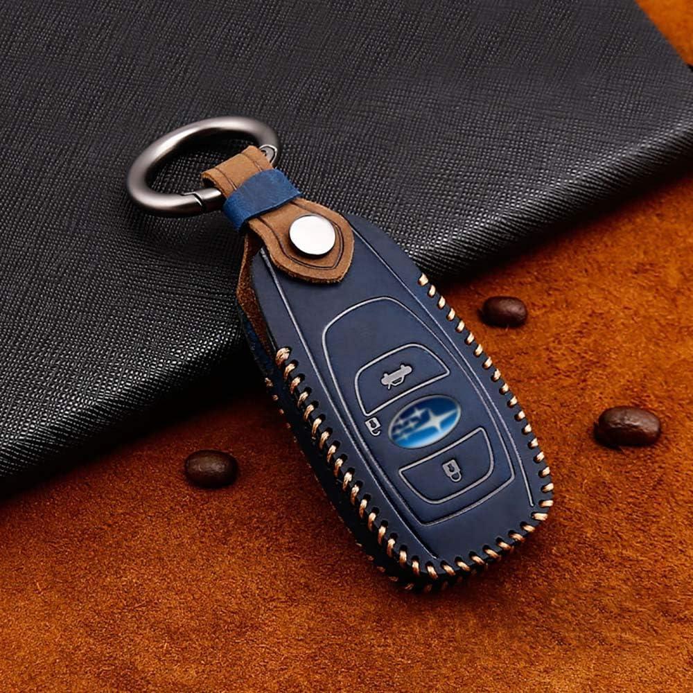 ontto for Subaru Car Key Cover Premium Leather Key Fob Cover Holder Protector for Subaru Impreza Forester Legacy Ascent Outback CVT Subaru BRZ XV Crosstrek STI WRX Remote Car Key Case Keyring Blue