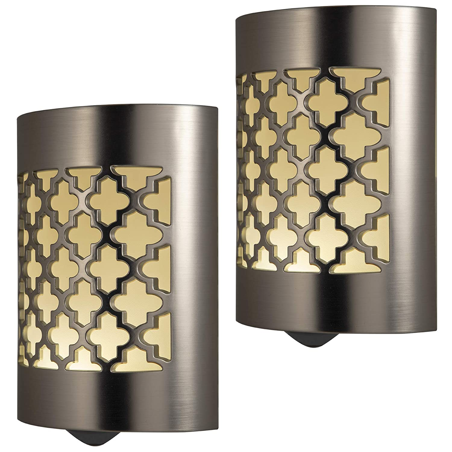 GE CoverLite LED Night Light Moroccan Design, 2 Pack, Plug-in, Dusk-to-Dawn Sensor, Home Decor, for Elderly, Ideal for Kitchen, Bathroom, Bedroom, Office, Nursery, Hallway, Brushed Nickel, 46815,