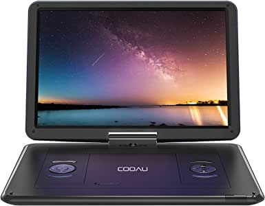 "COOAU 15.6"" Portable DVD Player with Remote Controller, Large 270 Degrees Swivel Screen, 6 Hrs Long Lasting Built-in Battery, Setreo Sound, Region Free, SD+USB+AVin+AVout+Earphone Port. Black"