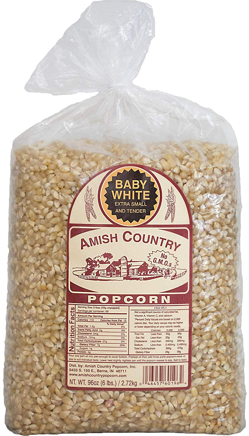Amish Country Popcorn - Baby White (6 Pound Bag) - Small & Tender Popcorn