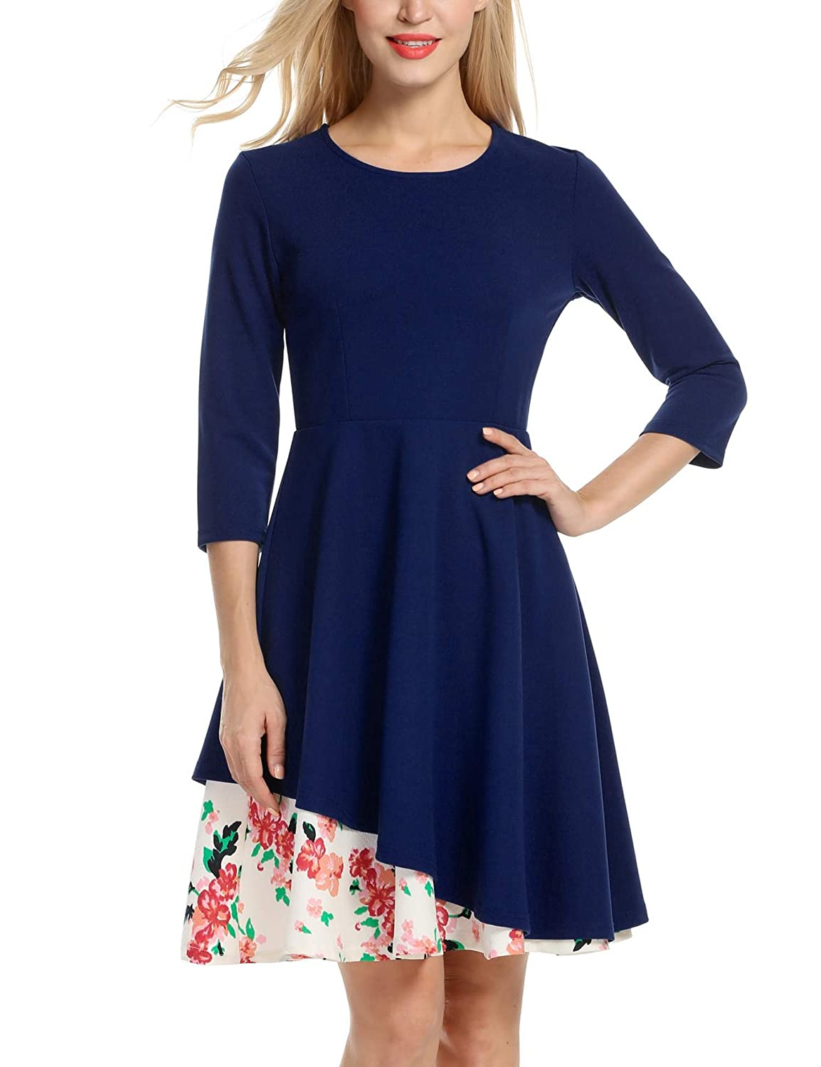 ANGVNS Women's Round Neck 3/4 Sleeve Floral Layer Wedding Cocktail Dress