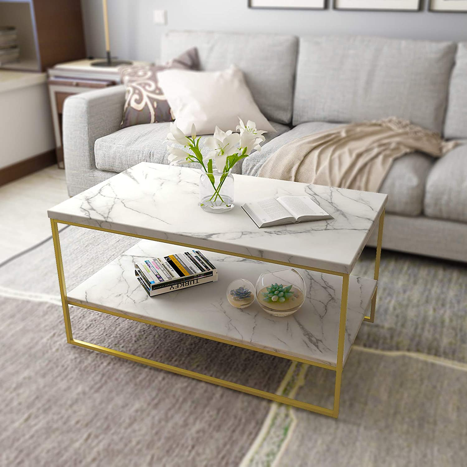 Roomfitters White Marble Print Coffee Table Gold Metal Legs Living Room Tables Amazon Co Uk Kitchen Home