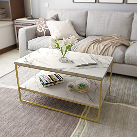 Amazon Com Roomfitters White Marble Print Coffee Table With Gold