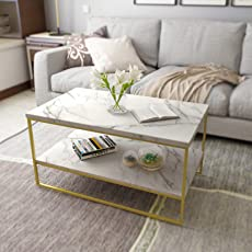 Roomfitters White Marble Print Coffee Table With Gold Metal Frame Legs, Living  Room Tables