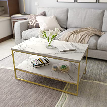 Amazoncom Roomfitters White Marble Print Coffee Table With Gold
