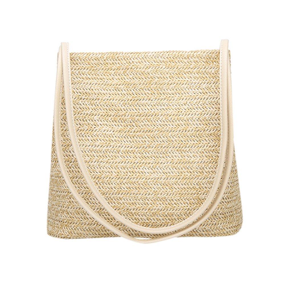 Damen Schultertasche Piebo Stroh Crossbody Tasche Frauen Weben Umhaengetasche Runde Sommer Strand Geldbeutel und Handtaschen