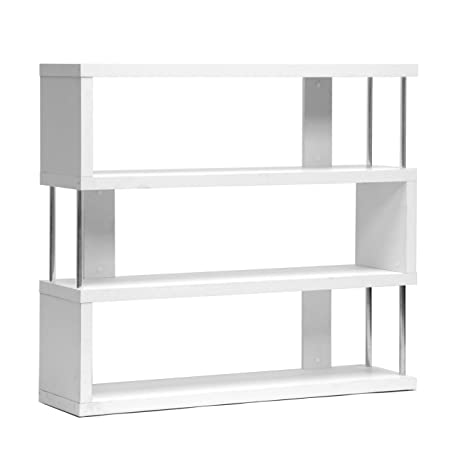 Baxton Studio Barnes 3-Shelf Modern Bookcase, White