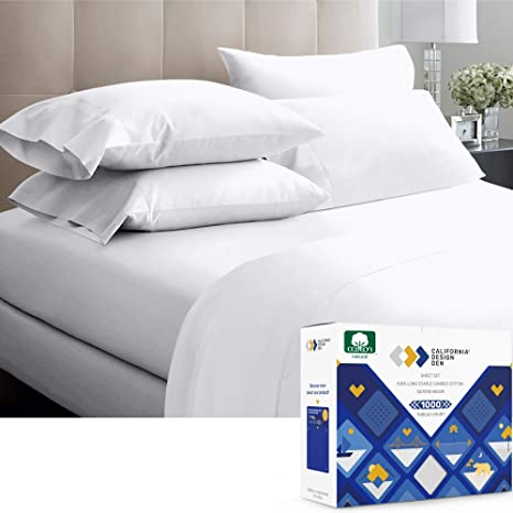 1000 TC Egyptian Cotton Deep Pocket Fitted Sheet+2 PC Pillow RV King Size