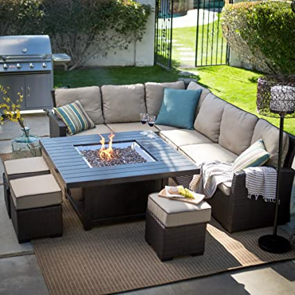 Belham Propane Fire Pit Table Set Outdoor Sofa Sectional Conversation Patio  Furniture - Amazon.com : Belham Propane Fire Pit Table Set Outdoor Sofa