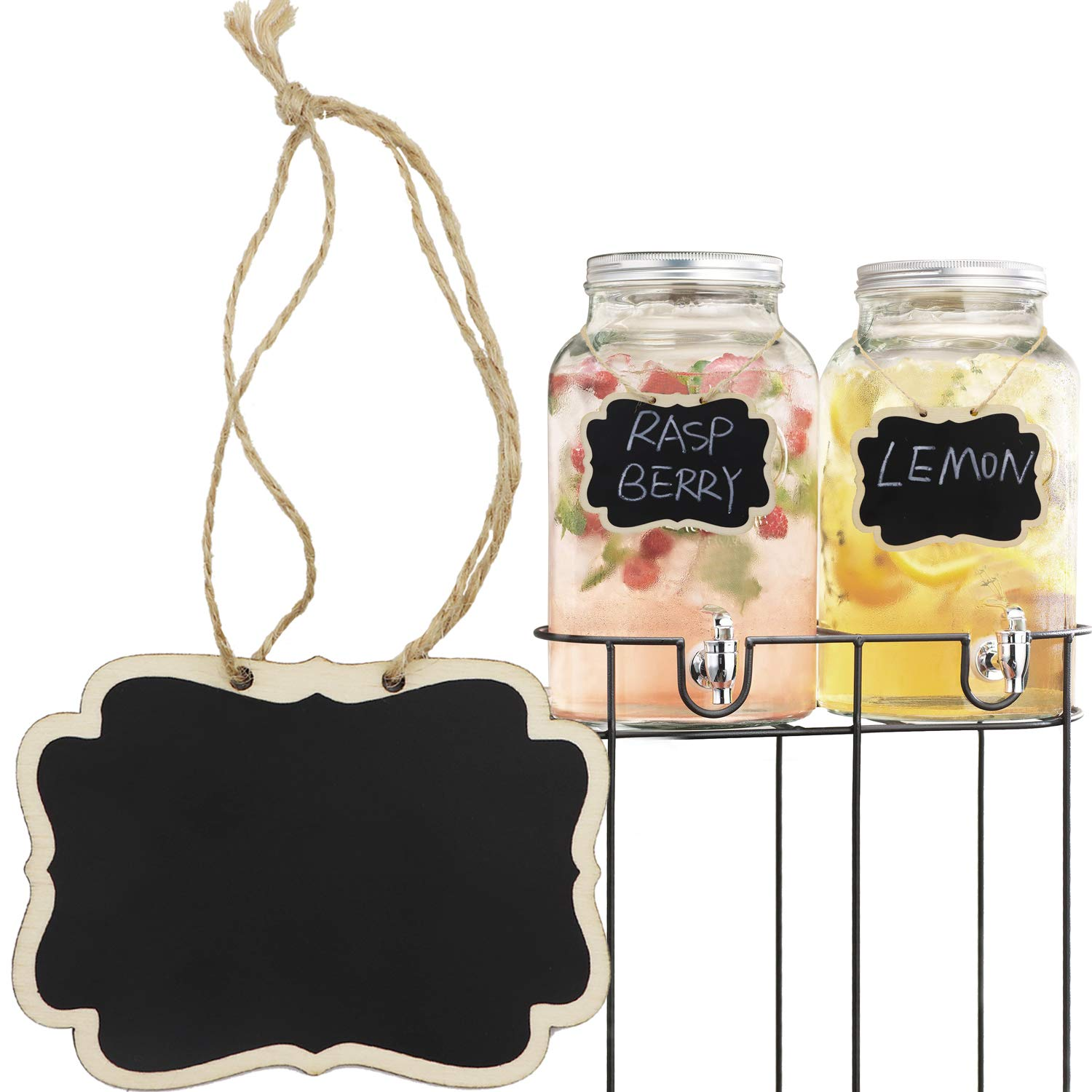 Alyan& Jammsy 12pcs Hanging Wooden Chalkboard Tags, Beverage Lables, Signs Pantry, Laundry Basket.