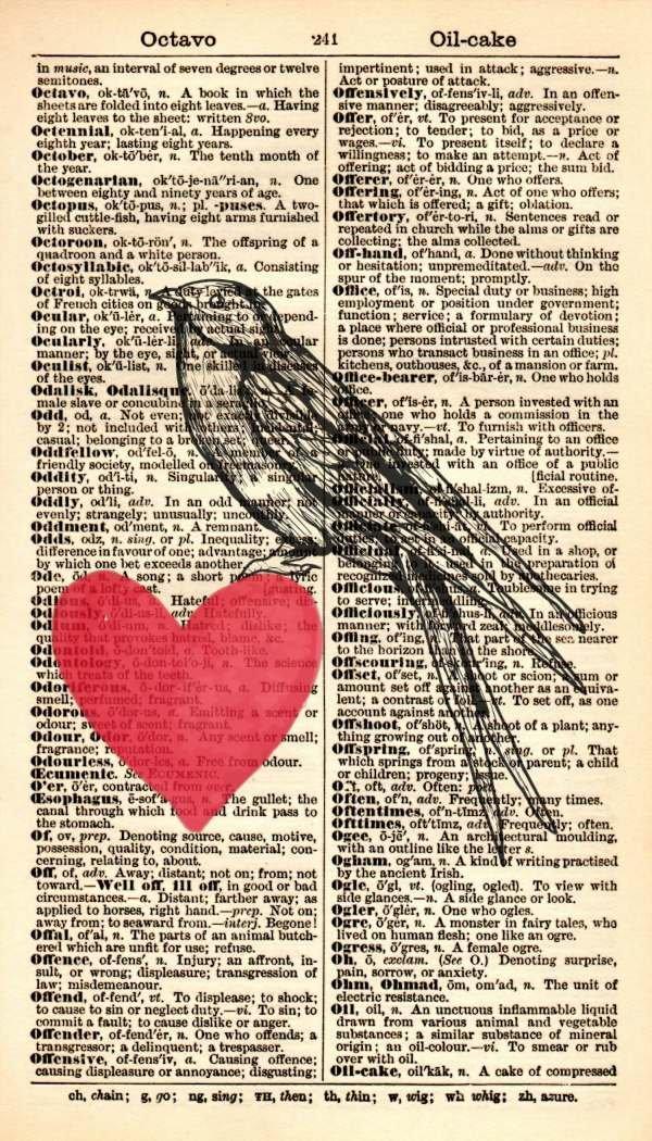Bird Art Print – Red Heart Art Print - Vintage Art Print - Vintage Dictionary Art Print – Wedding Gift – Bird Illustration – Wildlife Artwork - Dictionary Page Print – Book Page Print 443B