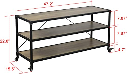 eHemco Rustic TV Stand and Entertainment Center with Wheels