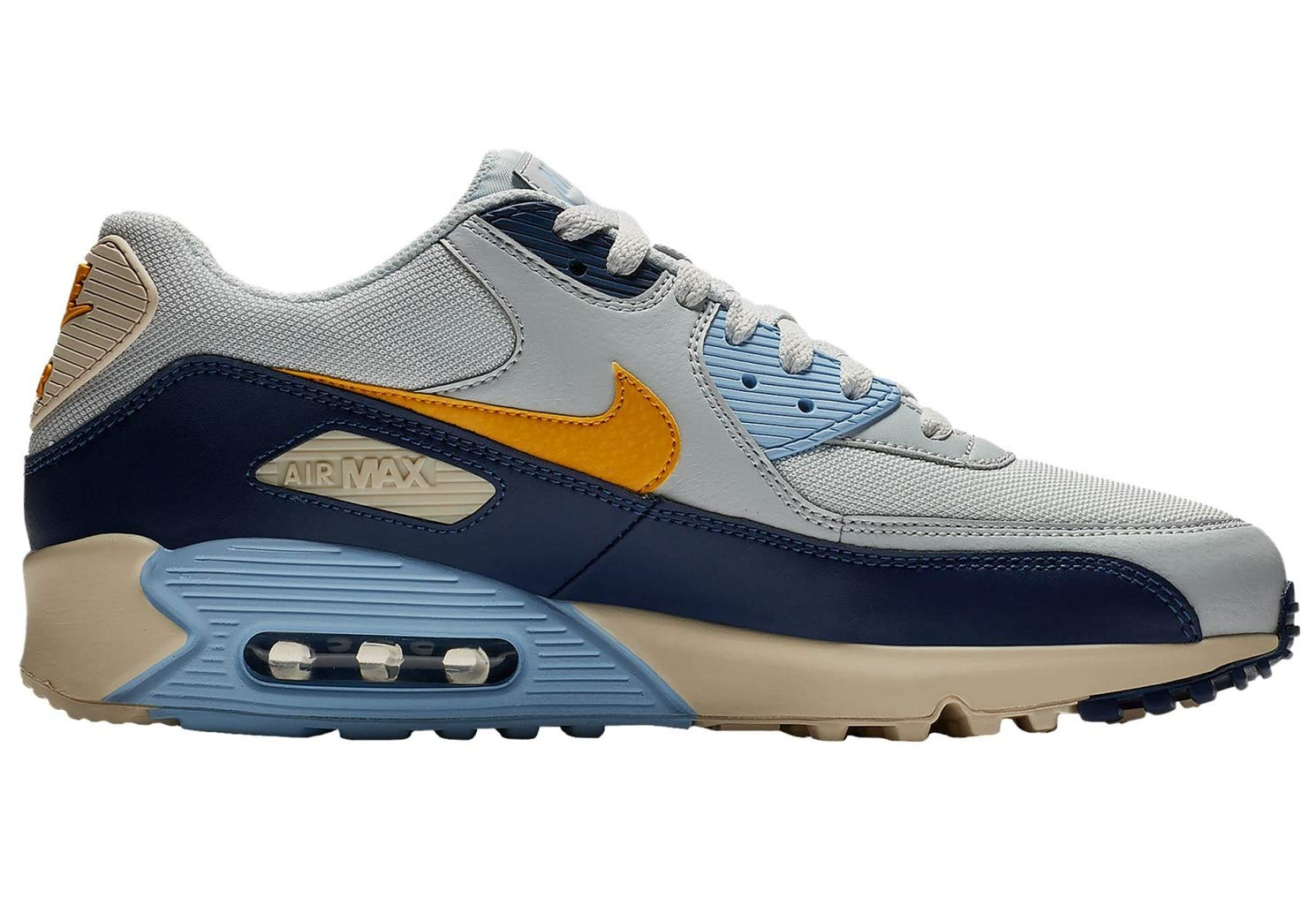 newest collection 86ad0 3e001 Galleon - Nike Mens Air Max 90 Essential Running Shoes Pure Platinum Yellow  Ochre Blue Void AJ1285-008 Size 11