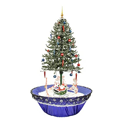 bf1bf3f5238 northlight 31523114 pre lit musical snowing rotating santa artificial christmas  tree with blue led lights