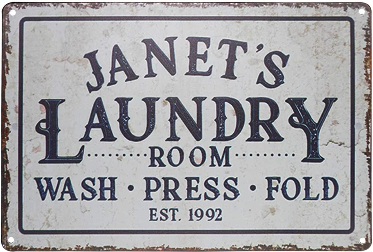 """PXIYOU Janet's Laundry Room Wash Press Fold Vintage Distressed Look Country Wall Decor Wash Room Signs 8""""X 12"""" Inches"""