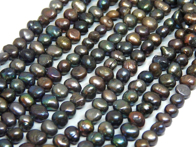 Perlas cultivadas de agua dulce, 8 mm, color negro antracita, grano de arroz, natural, barroco, piedras preciosas, perlas, perlas, para enhebrar