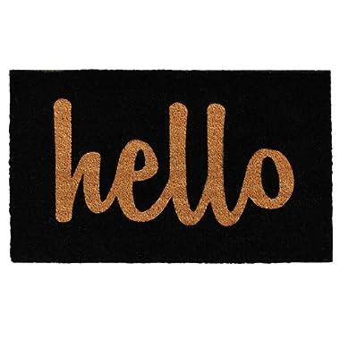 Calloway Mills 100231729BNS Script Hello Doormat, 17  x 29 , Black/Natural