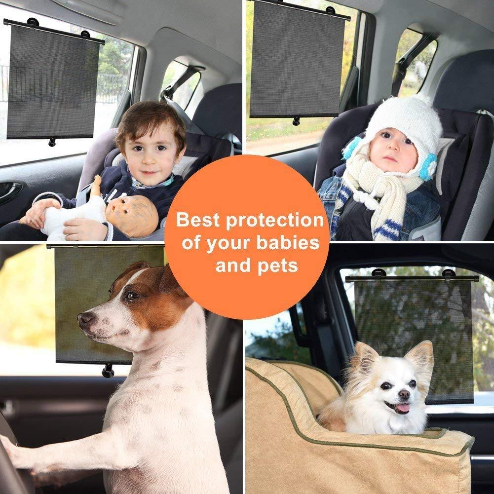 Domitlar Auto-Fensterrollo f/ür Babys einziehbar blockiert 98/% sch/ädliche UV-Strahlen und Blendschutz f/ür Kinder und Haustiere 2 St/ück Sonnenschutz mit Saugn/äpfen