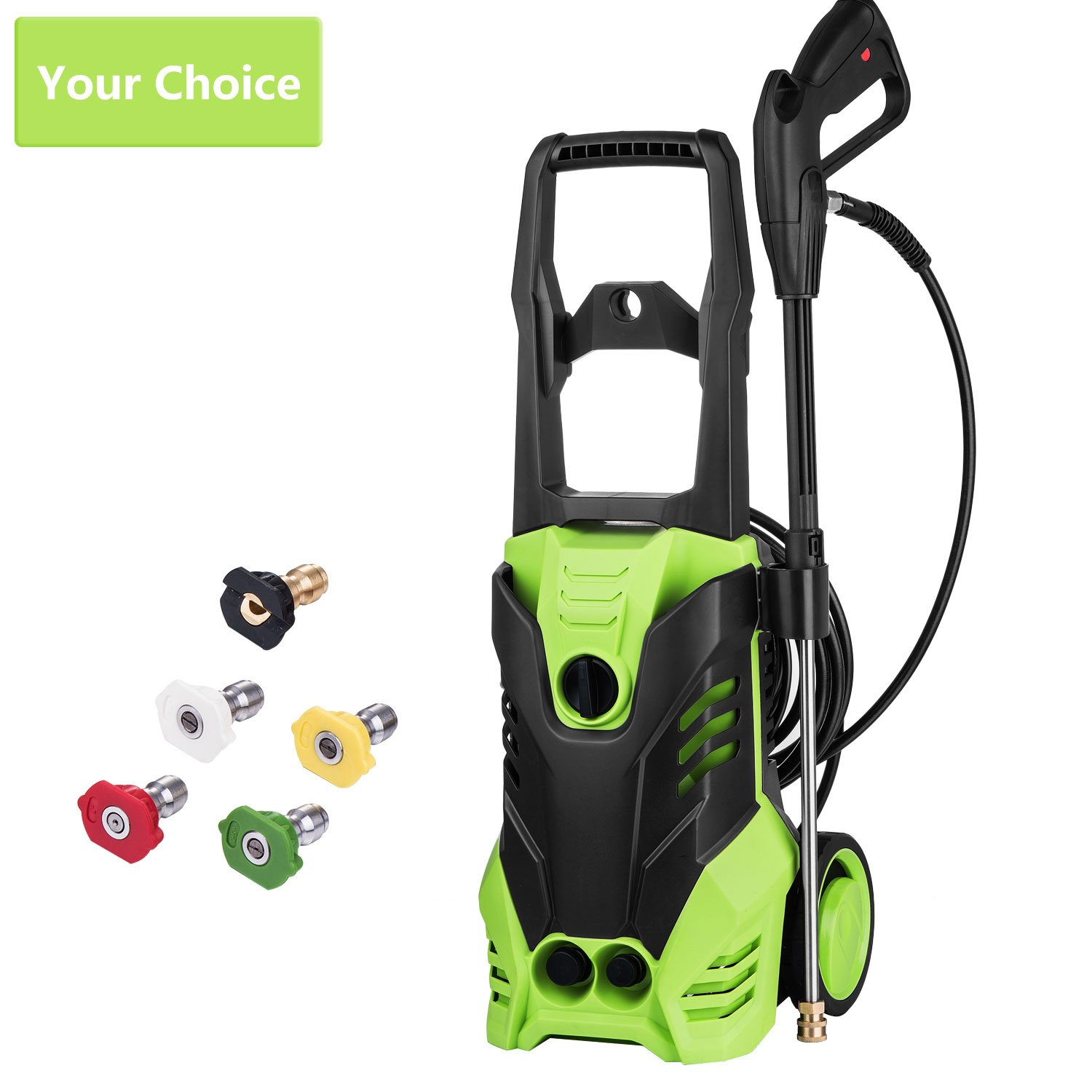 Meditool Electric Pressure Washer 3000 PSI High Pressure Power Washer Machine with Power Hose Gun Turbo Wand 5 Interchangeable Nozzles
