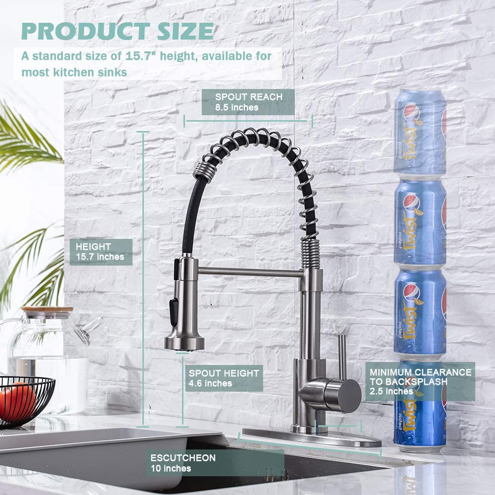 Kitchen Sink Faucets, Kitchen faucets with Pull Down Sprayer WEWE sus304 Stainless Steel Brushed Nickel Single Handle Single Hole Faucet for Farmhouse rv Utility bar Laundry Sinks - -