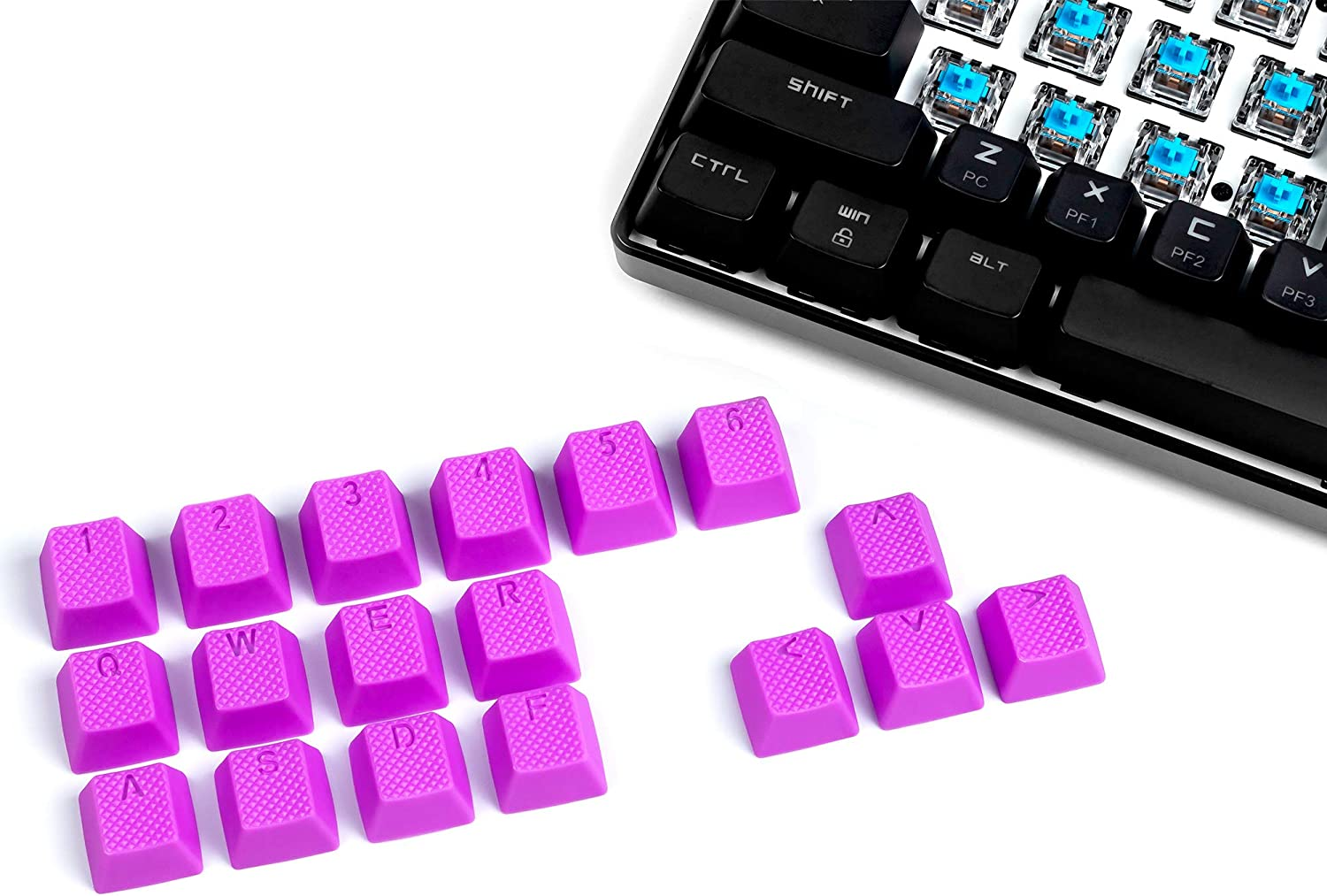 VULTURE Rubber Keycaps Cherry MX Double Shot Backlit 18 Keycap Set Compatible for Gaming Mechanical Keyboard OEM Profile Doubleshot Rubberized Diamond Textured Tactile Grip with Key Puller (Purple)