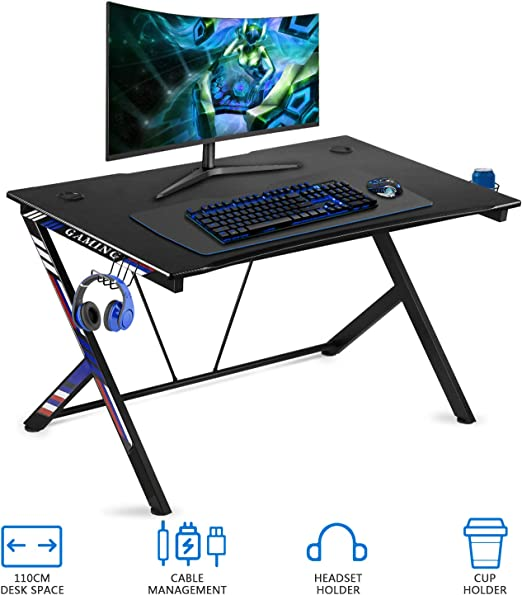 oneinmil Mesa de juegos de escritorio - 43.5 pulgadas en forma de ...