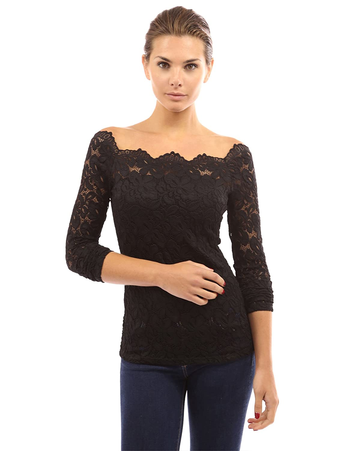 d06852eda58398 PattyBoutik Women Floral Lace Off Shoulder Top at Amazon Women s Clothing  store