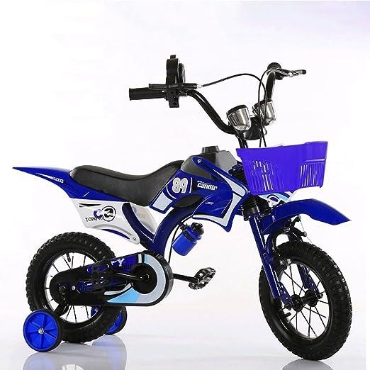 ZHEN GUO SHOP Los Niños de Motocicleta Bicicleta Niño bebé Coche Niños Montaña Bicicleta DE 12 Pulgadas (Color : Azul): Amazon.es: Hogar