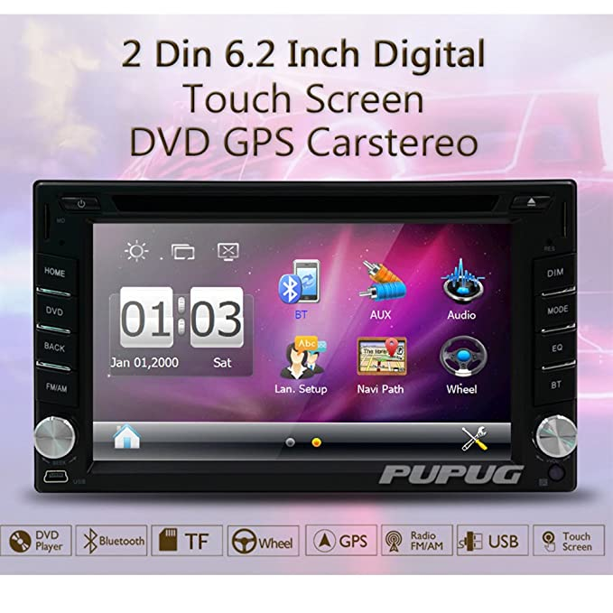 Amazon gps navigation steering wheel control 2 din car dvd cd amazon gps navigation steering wheel control 2 din car dvd cd player stereo radio video bluetooth 62 inch touch screen am fm radio usb in dash asfbconference2016 Gallery