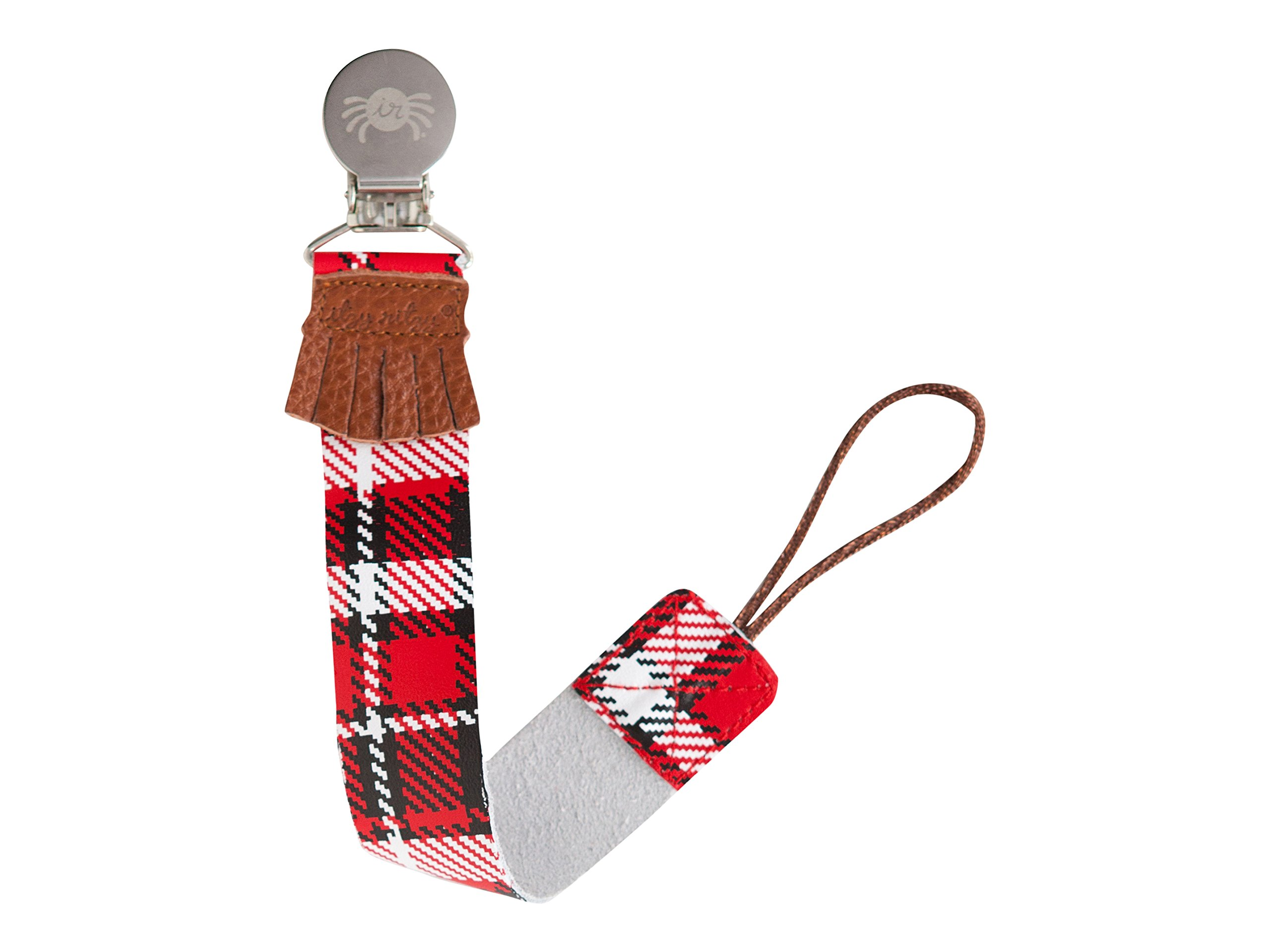 Itzy Ritzy Drop Happens Leather Pacifier Clip, Lumberjack Plaid