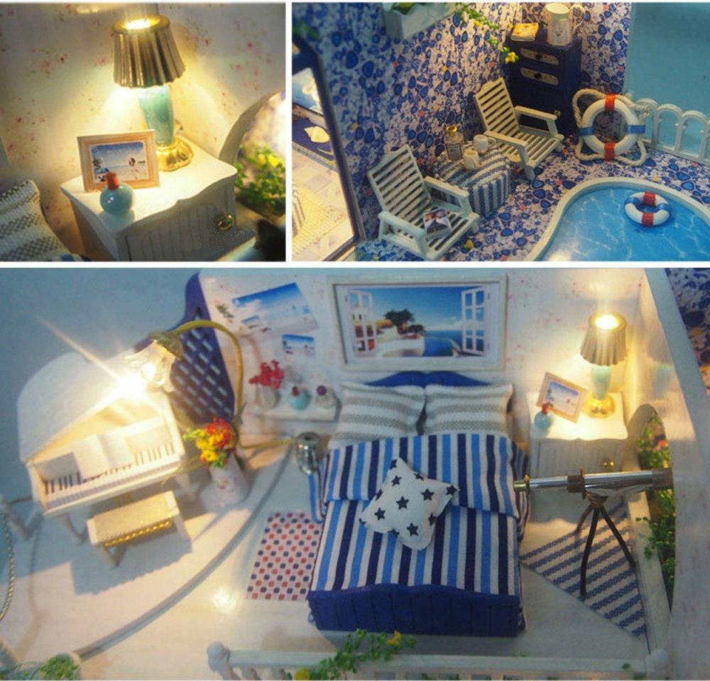 WYD DIY Santorini Dollhouse Wooden Miniature Kit with Voice Control Light X-mas Gift