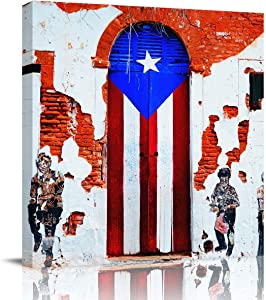 Canvas Prints Wall Art Paintings 8x8 inches Rustic Old Puerto Rico Flag Door People Wall Artworks Pictures for Living Room Bedroom Decoration Home Kitchen Bathroom Wall Decor Posters