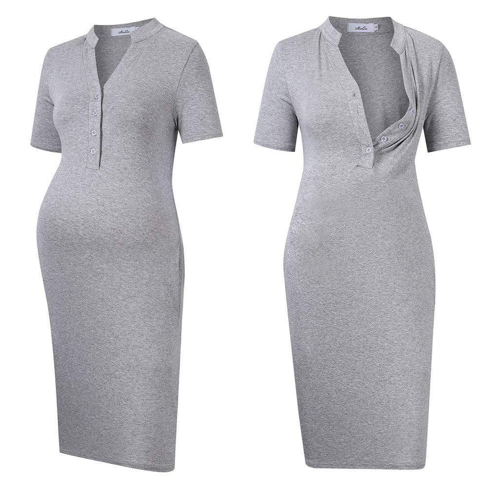 MissQee Maternity Dress Women's Nursing Nightgown for Breastfeeding Sleepwear Light grey XL