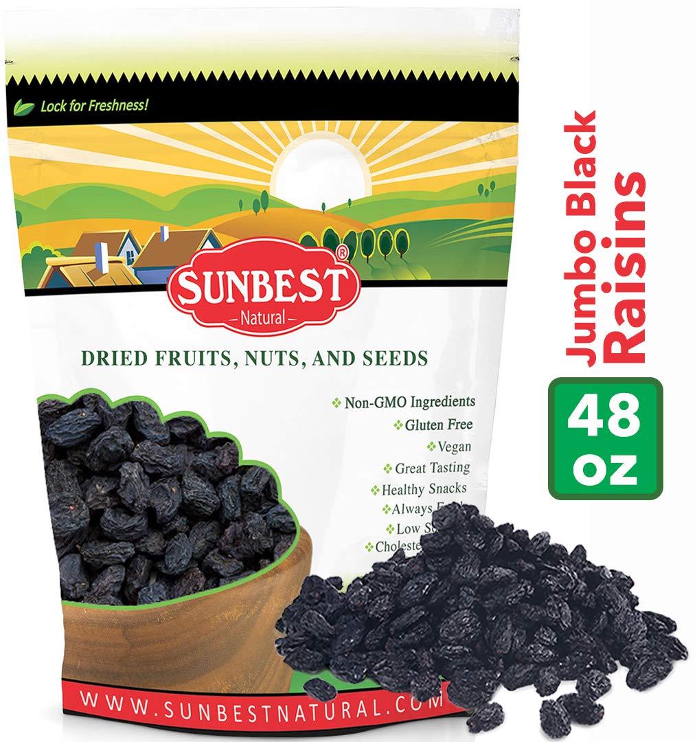 SUNBEST Seedless Black Jumbo Raisins in Resealable Bag ... (3 Lb) by SUNBEST NATURAL